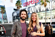 (L-R) Thomas Rhett and Lauren Akins attend the 2019 American Music Awards at Microsoft Theater on November 24, 2019 in Los Angeles, California.