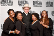 John C. Reilly (C) and (L-R) Alfreda McCrary, Regina McCrary, Ann McCrary, Deborah McCrary of The McCrary Sisters seen backstage during the 2019 Americana Honors & Awards at Ryman Auditorium on September 11, 2019 in Nashville, Tennessee.