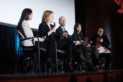 "US Representative Alexandria Ocasio-Cortez, producer Sarah Olson, producer and editor Robin Blotnick, director Rachel Lears and AFF co-founder Melissa Silverstein on stage during the 2019 Athena Film Festival closing night film, ""Knock Down the House"" at the Diana Center at Barnard College on March 3, 2019 in New York City."