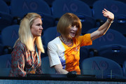 Anna Wintour sits in the stands at Rod Laver Arena ahead of the Men's Singles Semi Finals match between Rafael Nadal of Spain and Stefanos Tsitsipas of Greece during day 11 of the 2019 Australian Open at Melbourne Park on January 24, 2019 in Melbourne, Australia.