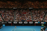 A general view as Naomi Osaka of Japan competes in her Women's Singles Final match against Petra Kvitova of the Czech Republic during day 13 of the 2019 Australian Open at Melbourne Park on January 26, 2019 in Melbourne, Australia.