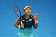 Naomi Osaka of Japan reacts in her Women's Singles Final match against Petra Kvitova of the Czech Republic during day 13 of the 2019 Australian Open at Melbourne Park on January 26, 2019 in Melbourne, Australia.