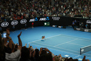 Naomi Osaka of Japan celebrates at match point following victory in her Women's Singles Final match against Petra Kvitova of the Czech Republic during day 13 of the 2019 Australian Open at Melbourne Park on January 26, 2019 in Melbourne, Australia.