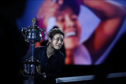 Li Na holds The Daphne Akhurst Memorial Cup before the Women's Singles Final match between Petra Kvitova of the Czech Republic and Naomi Osaka of Japan during day 13 of the 2019 Australian Open at Melbourne Park on January 26, 2019 in Melbourne, Australia.