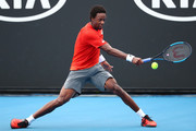 Gael Monfils of France plays a backhand in his second round match against Taylor Fritz of the United States during day three of the 2019 Australian Open at Melbourne Park on January 16, 2019 in Melbourne, Australia.