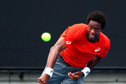 Gael Monfils of France serves in his second round match against Taylor Fritz of the United States during day three of the 2019 Australian Open at Melbourne Park on January 16, 2019 in Melbourne, Australia.