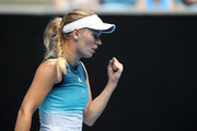 Caroline Wozniacki of Denmark celebrates a point in her second round match against Johanna Larsson of Sweden during day three of the 2019 Australian Open at Melbourne Park on January 16, 2019 in Melbourne, Australia.