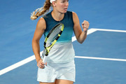 Caroline Wozniacki of Denmark celebrates a point in her third round match against Maria Sharapova of Russia during day five of the 2019 Australian Open at Melbourne Park on January 18, 2019 in Melbourne, Australia.