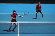 Jamie Murray of Great Britain plays a forehand in his Men's Doubles match with partner Bruno Soares of Brazil against Kevin Krawietz of Germany and Nikola Mektic of Croatia during day eight of the 2019 Australian Open at Melbourne Park on January 21, 2019 in Melbourne, Australia.