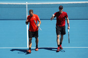 Bruno Soares of Brazil and Jamie Murray of Great Britain celebrate a point in their Men's Double match against Kevin Krawietz of Germany and Nikola Mektic of Croatia during day eight of the 2019 Australian Open at Melbourne Park on January 21, 2019 in Melbourne, Australia.