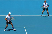 Pat Cash and Mark Woodforde of Australia compete in their legend doubles match against Mansour Bahrami of Iran and Mark Philippoussis of Australia during day eight of the 2019 Australian Open at Melbourne Park on January 21, 2019 in Melbourne, Australia.