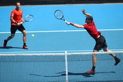 Jamie Murray of Great Britain plays a backhand in his Men's Doubles match with partner Bruno Soares of Brazil against Kevin Krawietz of Germany and Nikola Mektic of Croatia during day eight of the 2019 Australian Open at Melbourne Park on January 21, 2019 in Melbourne, Australia.