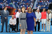 (L-R) 2019 Hall of Fame inductees Li Na and Mary Pierce pose during day nine of the 2019 Australian Open at Melbourne Park on January 22, 2019 in Melbourne, Australia.