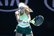Caroline Wozniacki of Denmark plays a shot during her practice match against Elina Svitolina of Ukraine ahead of the 2019 Australian Open at Melbourne Park on January 09, 2019 in Melbourne, Australia.
