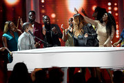 (L-R) Kirk Franklin and Kelly Price perform onstage at the 2019 BET Awards on June 23, 2019 in Los Angeles, California.