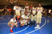 (L-R) Tequan Richmond, 2 Chainz, Sheck Wes, The Game, Sarunas Jackson, Jackie Long, Franklin 'Frank Nitty' Sessions, Sinqua Walls and Blueface play in the BETX Celebrity Basketball Game Sponsored By Sprite during the BET Experience at Los Angeles Convention Center on June 22, 2019 in Los Angeles, California.