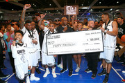 (L-R) Miles Brown,  Ar'mon Warren, Lougotcash, DDG, Big Boy, Yandy Smith, and Allan Houston (far right) play in the BETX Celebrity Basketball Game Sponsored By Sprite during the BET Experience at Los Angeles Convention Center on June 22, 2019 in Los Angeles, California.