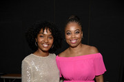 (L-R) Yara Shahidi and Jemele Hill backstage at Generation Genius: From Blackish to Grownish at Genius Talks Sponsored By Credit Karma during the BET Experience at the Los Angeles Convention Center on June 22, 2019 in Los Angeles, California.