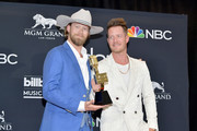 (L-R) Brian Kelley and Tyler Hubbard of Florida Georgia Line pose with the award for Top Country Song for 'Meant to Be'  in the press room during the 2019 Billboard Music Awards at MGM Grand Garden Arena on May 01, 2019 in Las Vegas, Nevada.