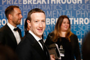 Mark Zuckerberg (C) attends the 2019 Breakthrough Prize at NASA Ames Research Center on November 4, 2018 in Mountain View, California.