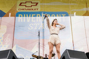 (EDITORIAL USE ONLY) Cassadee Pope performs on stage during day 1 of 2019 CMA Music Festival on June 06, 2019 in Nashville, Tennessee.