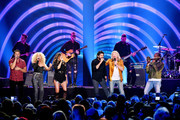 (L-R) Jimi Westbrook, Kimberly Schlapman of musical group Little Big Town, Thomas Rhett, Karen Fairchild, Phillip Sweet of musical group Little Big Town and Trombone Shorty perform at the 2019 CMT Music Awards at Bridgestone Arena on June 05, 2019 in Nashville, Tennessee.