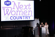 Leslie Fram and Martina McBride speak onstage during the 2019 CMT Next Women Of Country at CMA Theater at the Country Music Hall of Fame and Museum on November 12, 2019 in Nashville, Tennessee.