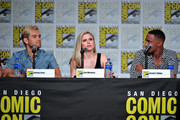 Antony Starr, Erin Moriarty, and Jessie T. Usher speak at 'The Boys' Panel during 2019 Comic-Con International at San Diego Convention Center on July 19, 2019 in San Diego, California.