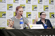 (L-R) Deborah Ann Woll and Amy Dallen speak at the All Things RPG-E: Geek & Sundry panel during 2019 Comic-Con International at San Diego Convention Center on July 18, 2019 in San Diego, California.