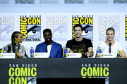 """Sonequa Martin-Green, David Ajala, Ethan Peck, and Rebecca Romijn speak at the """"Enter The Star Trek Universe"""" Panel during 2019 Comic-Con International at San Diego Convention Center on July 20, 2019 in San Diego, California."""