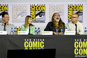 (L-R) Dave Alpert, Gale Anne Hurd, Greg Nicotero and Michael Satrazemis speak at the 'Fear The Walking Dead' Panel during 2019 Comic-Con International at San Diego Convention Center on July 19, 2019 in San Diego, California.