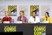 (L-R) Maggie Grace, Jenna Elfman, Austin Amelio and Alexa Nisenson speak at the 'Fear The Walking Dead' Panel during 2019 Comic-Con International at San Diego Convention Center on July 19, 2019 in San Diego, California.