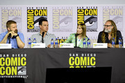 (L-R) Robert Kirkman, Dave Alpert, Gale Anne Hurd and Greg Nicotero speak at the 'Fear The Walking Dead' Panel during 2019 Comic-Con International at San Diego Convention Center on July 19, 2019 in San Diego, California.