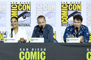 Tessa Thompson, Aaron Paul, and Luke Hemsworth speak at the 'Westworld III' Panel during 2019 Comic-Con International at San Diego Convention Center on July 20, 2019 in San Diego, California.