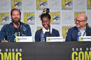 Ryan Hansen, Kirby Howell-Baptiste, and Enrico Colantoni speak at the World Premiere: Hulu's 'Veronica Mars' Revival panel during 2019 Comic-Con International at San Diego Convention Center on July 19, 2019 in San Diego, California.