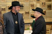(L-R) Garth Brooks and Charlie McCoy attend the 2019 Country Music Hall of Fame Medallion Ceremony at Country Music Hall of Fame and Museum on October 20, 2019 in Nashville, Tennessee.