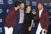 NEW YORK, NY  MAY 13: (L-R) Brian Austin Green, Jason Priestley, Gabrielle Carteris and Ian Ziering attend the 2019 FOX Upfront at Wollman Rink, Central Park on May 13, 2019 in New York City.