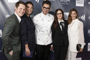 (L-R) Noah Reid, Annie Murphy, Dan Levy, Emily Hampshire, and Sarah Levy arrive at the 2019 GLAAD Gala at the Hyatt Regency in San Francisco on September 28, 2019 in San Francisco, California.