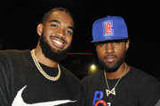 Karl-Anthony Towns (L) and Paul George attend the NBA 2K20: Welcome to the Next on September 05, 2019 in Los Angeles, California.