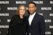Retransmission with alternate crop.) Gloria Steinem (L) and John Legend attend The 2019 MAKERS Conference at Monarch Beach Resort on February 7, 2019 in Dana Point, California.