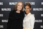 Retransmission with alternate crop.) Gloria Steinem (L) and Jada Pinkett Smith attend The 2019 MAKERS Conference at Monarch Beach Resort on February 7, 2019 in Dana Point, California.