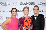 (L-R) Ali Krieger, Megan Rapinoe and Ashlyn Harris pose backstage during the 2019 Glamour Women Of The Year Awards at Alice Tully Hall on November 11, 2019 in New York City.