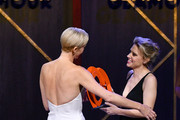 Charlize Theron and Kate McKinnon are seen onstage at the 2019 Glamour Women Of The Year Awards at Alice Tully Hall on November 11, 2019 in New York City.