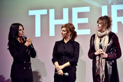 "(L-R) Kathrine Narducci, Stephanie Kurtzuba, Jane Rosenthal speak on stage during Jane Rosenthal ""The Irishman"" Reception at the 2019 Hamptons International Film Festival on October 11, 2019 in East Hampton, New York."