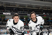 Sidney Crosby #87 and Kris Letang #58 of the Pittsburgh Penguins pose prior to the 2019 Honda NHL All-Star Game at SAP Center on January 26, 2019 in San Jose, California.