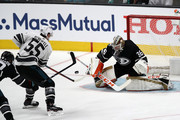 John Gibson #36 of the Anaheim Ducks makes a save during the 2019 Honda NHL All-Star Game at SAP Center on January 26, 2019 in San Jose, California.