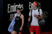 Angelique Kerber and Alexander Zverev of Germany  walk onto court for the mixed doubles match against Garbine Muguruza and David Ferrer of Spain during day two of the 2019 Hopman Cup at RAC Arena on December 30, 2018 in Perth, Australia.