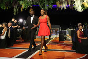 Frances Tiafoe and Serena Williams of the United States are introduced onto the stage at the Hopman Cup New Years Eve Gala dinner during day three of the 2019 Hopman Cup at RAC Arena on December 31, 2018 in Perth, Australia.
