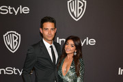 L-R Wells Adams and Sarah Hyland attend the 2019 InStyle and Warner Bros. 76th Annual Golden Globe Awards Post-Party at The Beverly Hilton Hotel on January 6, 2019 in Beverly Hills, California.