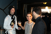 Actress Natalie Portman and Benjamin Millepied receive Dom Pérignon at the 2019 LA Dance Project Gala, Cocktail Hour Hosted by Dom Pérignon at Hauser & Wirth on October 19, 2019 in Los Angeles, California.
